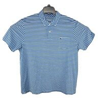 Vineyard Vines Performance Men Blue Striped Golf Polo Shirt Size XXL Logo Whale