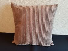 """18"""" x 18"""" Nutmeg jumbo cord and faux leather cushion cover."""