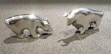 Chrome Figuren Bulle + Bär . Metall . 3 + 3,5 cm lang Börsen Symbol