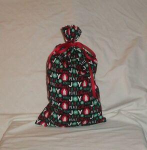 Christmas Peace, Cheer & Joy on Black Design Homemade Fabric Gift Bag