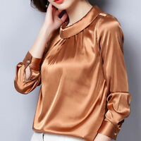 Vintage Women's Satin Silky Shirt Long Sleeve Shiny Pleated Blouse Pullover Tops