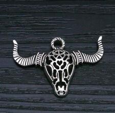 Antique Silver Tone Bull Crâne bœuf buffle cornes 3 Trou Pendentif Charm Bead Carte