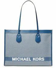 Michael Kors Tote Large Bay East West Logo Handbag Vintage Blue