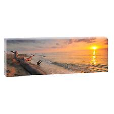Sundown - Bild Strand Meer Keilrahmen Leinwand  Poster XXL 150 cm*50 cm 547