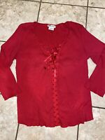 Faded Glory Womens Large 12/14 Red V-neck 3/4 Sleeve Shirt Top Ribbon Tie Front