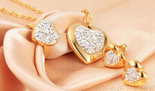 Brand New Gold Drill Stainless Steel Heart Charms Necklace & Earring & Ring Set