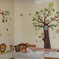 Kids Jungle Nursery Tree Animals Birds Owl Vinyl Wall Stickers, Wall Decals