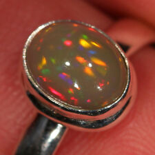 SZ 8, 7, 6, 5 Adjustable Opal Ring 925 Sterling Silver Ethiopian Welo Fire