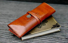 Vintage Leather Cosmetic Make-up Brush Wrap Holder Bag Pencil Case Calligraphy