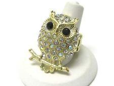 AB Crystal Goldtone Owl Stretch Ring