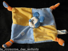 Doudou carré plat Mickey Mousse bleu jaune et orange Disney Baby 4 noeuds