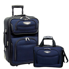 Travel Select Navy Amsterdam 2p Carry-on Expandable Rolling Luggage Suitcase Set