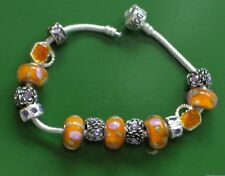 "8.5"" ORANGE BURST EURO SOLID 925 SILVER CHARM BRACELET, Murano glass beads"