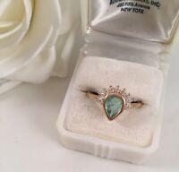Vintage Jewellery Gold Ring Aquamarine White Sapphires Antique Deco Jewelry 9 S
