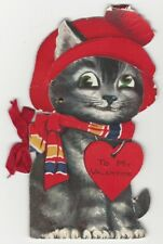 1928 Complicated Valentine Mechanical Cat Card with Storybook