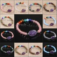 Natural Amethyst Quartz Crystal Round Beads Healing Point Chakra Stone Bracelets