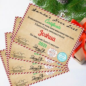 Personalised Certificate From Santa  - Nice LIst - Christmas Eve Box Filler - A4