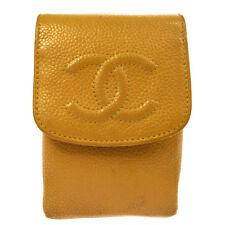 Auth CHANEL Vintage CC Logos Cigarette Case Beige Caviar Skin Leather AK22111