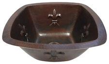 """15"""" Square Copper Bar Sink Fleur De Lis Design with Strainer DRAIN"""