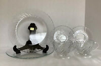 "Vintage, Arcoroc Set Of Two Clear Glass 9"" Plates And Two Glass Teacup & Saucers"