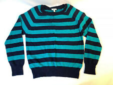 I Love H81 Size Medium Striped Crew Neck Sweater Turquoise And Navy