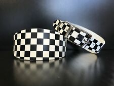 LARGE White Leather CHEQUER PRINT GREYHOUND DOG COLLAR, LURCHER, WHIPPET