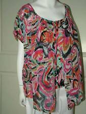 Large NY Collection Graphic Sheer Blouse Top with Jersey Under NEW$48 Ladies