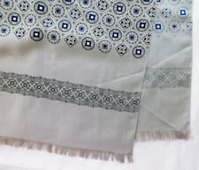 """Vintage Paisley scarf grey and blue pattern 50"""" x 23"""" fd"""