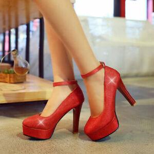 Womens High Heels Stilettos Ankle Strap Platform Shoes Pumps Date Chic Fashion
