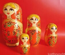 Set of 4 Lady Wooden Stacker Dolls. Red (Hand Painted)