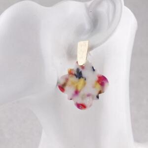 Tortoise Shell Quatrefoil Floral Statement Earrings with Bras Bar for Women