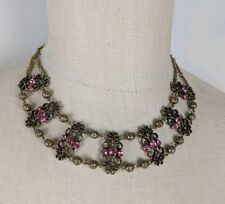 Anthropologie Pink Bib Statememt Collar Chunky Necklace with Earrings
