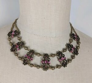 Anthropologie Pink/Gold Bib Statememt Collar Chunky Necklace with Earrings
