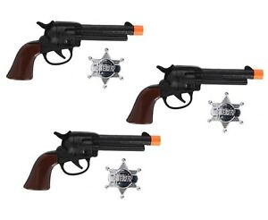 3 x Cow Boy Gun and Sheriffs Badge Party favors Playset cowboy Wild west Props