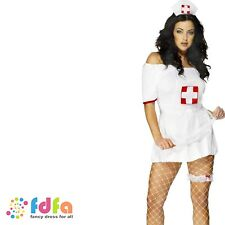 SEXY NURSE HAT GARTER & NET APRON ladies womens fancy dress costume