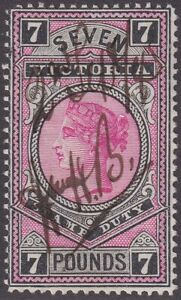VIC 1886-96 high value Stamp Duty series. £7 fiscally used - SG 326
