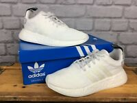 ADIDAS MENS UK 6 EU 39 1/3 WHITE NMD BOOST R2 PRIMEKNIT TRAINERS RRP £110