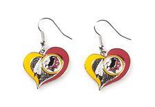 Washington REDSKINS NFL Swirl Heart Dangle Earrings & Pendant Necklace Set