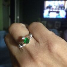Heart Shaped Claddagh Ring Fashion Green CZ Wedding Engagement Promise Jewelry