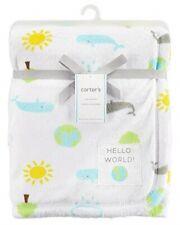 NWT Carters White Hello World Earth Sun Cloud Tree Whale Plush Soft Baby Blanket
