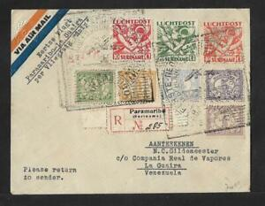 SURINAM TO VENEZUELA VIA SNIP AIR MAIL FIRST FLIGHT COVER 1934 VERY SCARCE