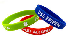 Kids/Youth Food Allergy Use Epipen Silicone Bracelet (Lot of 3)