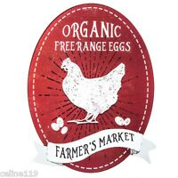 "ORGANIC ""Free Range Eggs"" Metal Decor Wall Art Farm Coop Store Kitchen Bar"