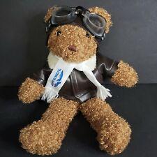 "Aviator Pilot Teddy Bear Jeppesen w/ Hat Goggle Jacket Scarf 10"""