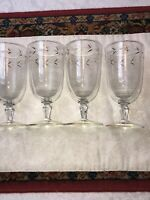 Libbey Glass Ice Tea Gray Cut With Gold Accent Set of 4 Vintage EUC