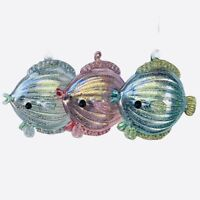 Kurt Adler Fish Glass Ornament Set 2 Coastal Christmas Pink Blue Green