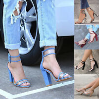 Womens Block High Heels Sandals Pumps Peep Toes Ankle Strap Casual Party Shoes