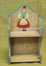 "Vintage Tomte Sweden Swedish Spice Rack Wall Shelf Hand Painted Folk Art 10""x6"""
