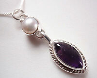 Amethyst and Cultured Pearl 925 Sterling Silver Pendant Corona Sun Jewelry