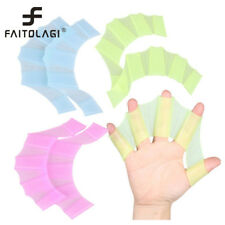 Silicone Hand Swimming Fins Flippers Swim Palm Finger Webbed Gloves Paddle Glove